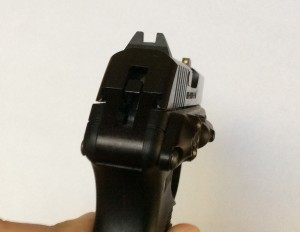 The LaserLyte unit mounts cleanly to the side of any LCP or KelTec p3at